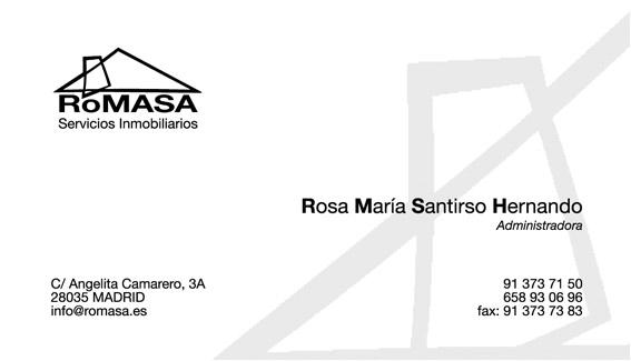 Tarjeta de Presentación ROMASA (Servicios Inmobiliarios)
