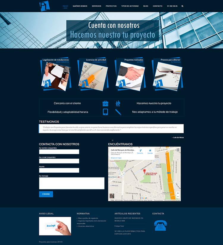 Diseño y creación de web Home PROYECTOS Y LICENCIAS