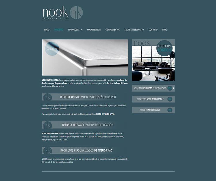 Diseño y creación de web Concepto NOOK INTERIOR STYLE