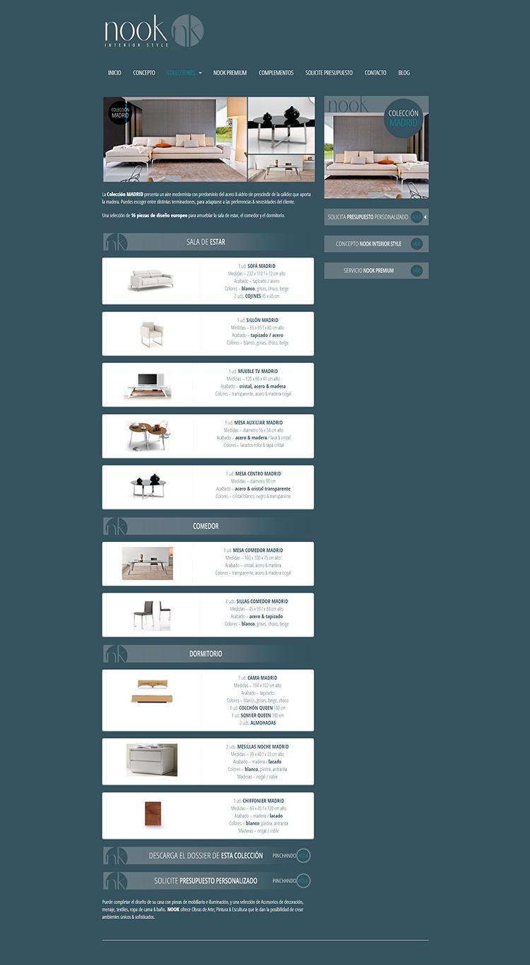 Diseño y creación de web Colecciones NOOK INTERIOR STYLE 3