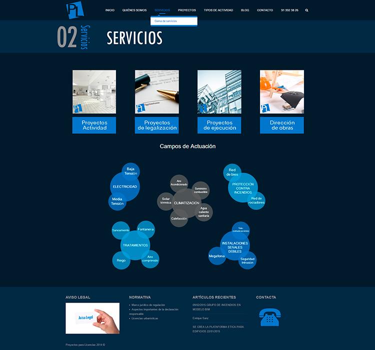 Diseño y creación de web Servicios PROYECTOS Y LICENCIAS