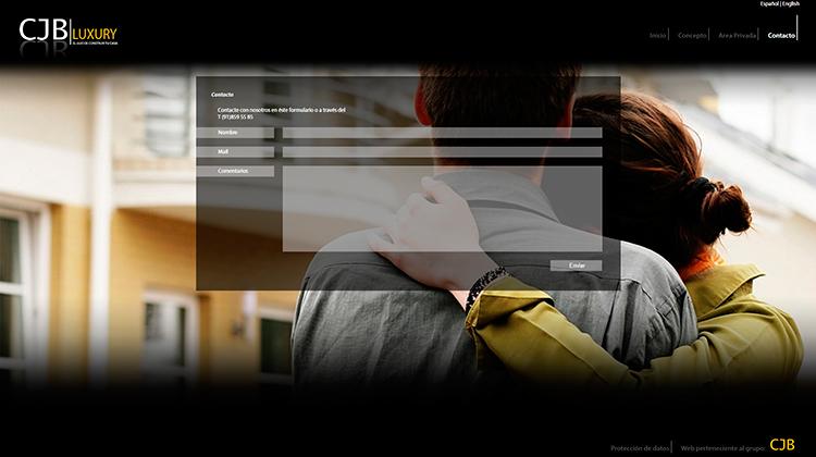 Diseño y creación de web Contacto CJB LUXURY
