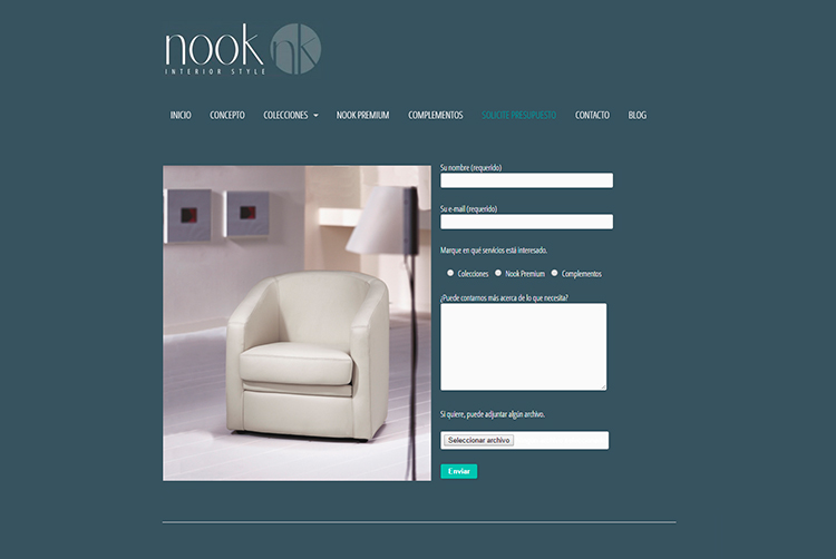 Diseño y creación de web Presupuesto NOOK INTERIOR STYLE