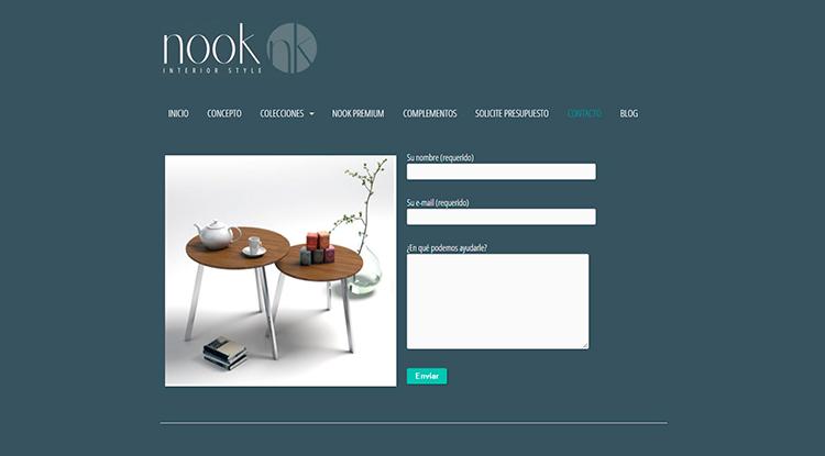 Diseño y creación de web Contacto NOOK INTERIOR STYLE
