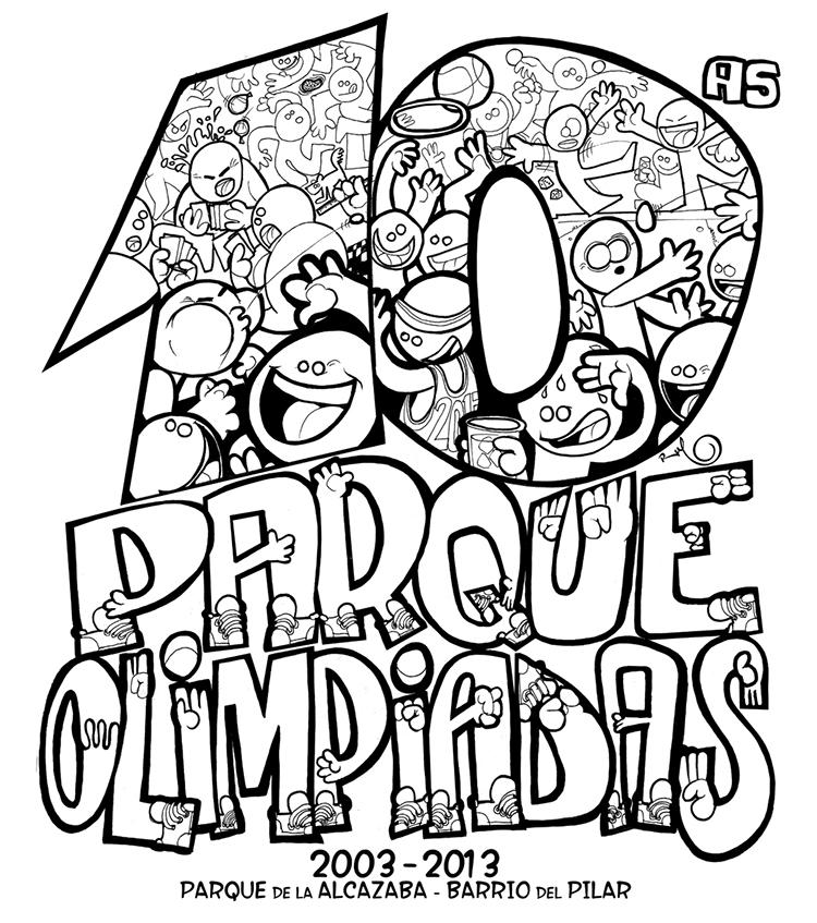 Ilustración completa camisetas 10 Aniversario PARQUEOLIMPIADAS