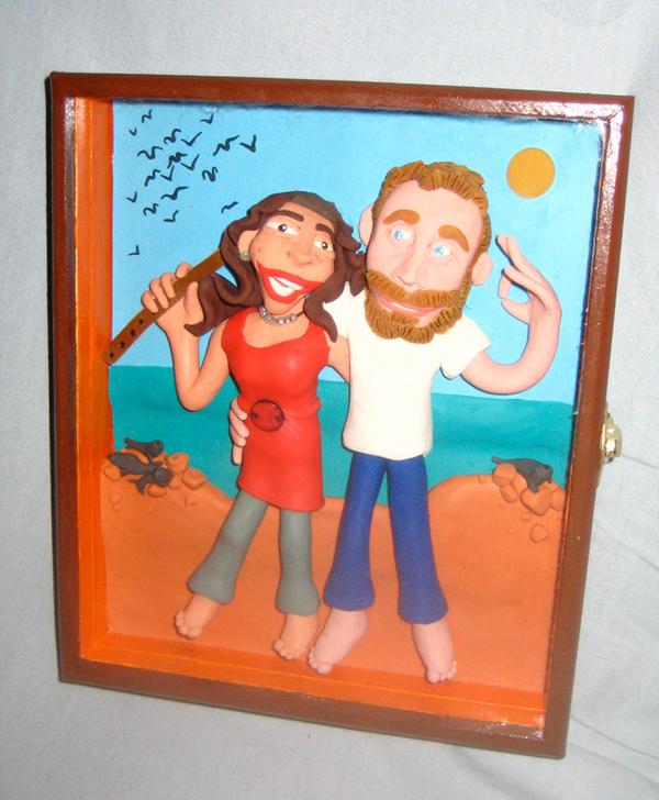 Retrato en plastilina TONI Y CLAUDIA EN PARACAS 1