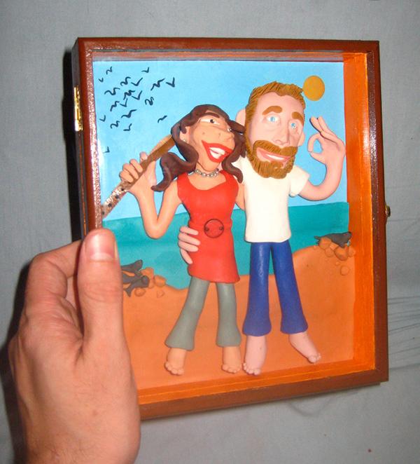 Retrato en plastilina TONI Y CLAUDIA EN PARACAS 4
