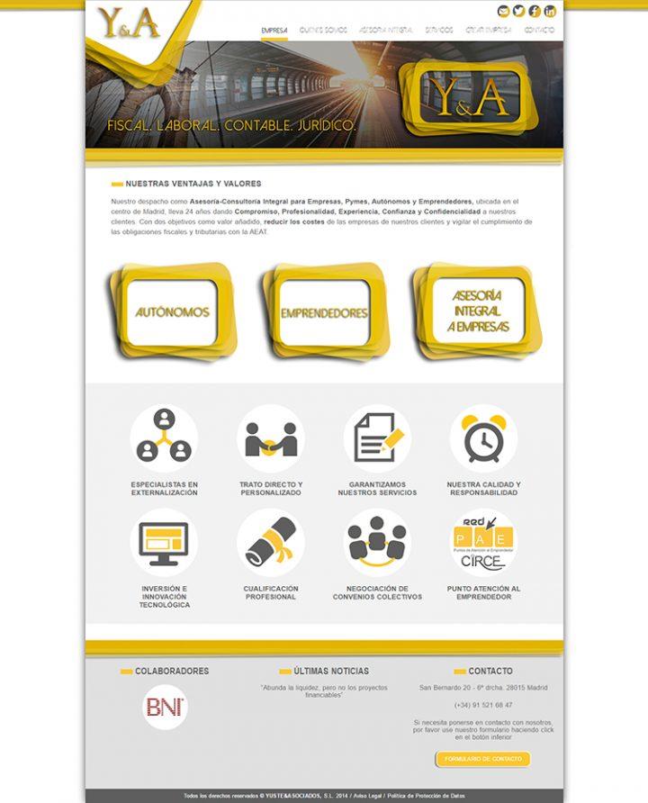 Diseño web Home YUSTE Y ASOCIADOS