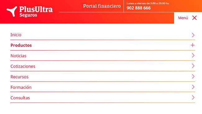 Diseño web Responsive Menu 1 SEGUROS PLUS ULTRA 768