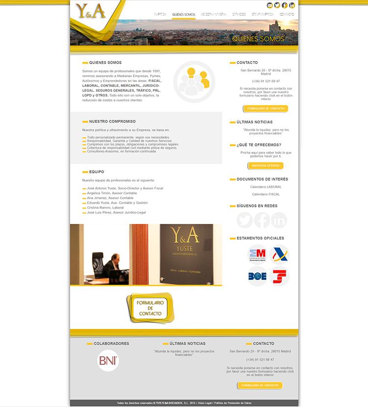 Diseño web Quienes YUSTE Y ASOCIADOS