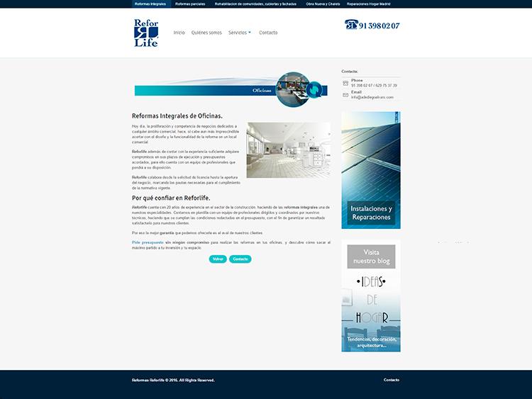 Diseño y creación de web Servicios REFORLIFE 3