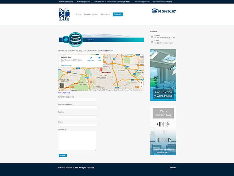 Diseño y creación de web Contacto REFORLIFE