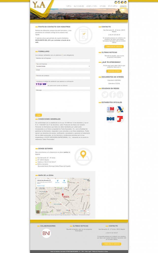 Diseño web Contacto YUSTE Y ASOCIADOS