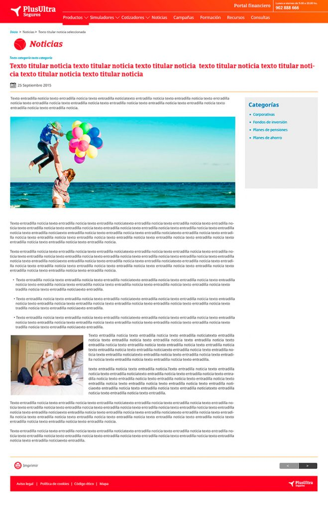 Diseño web Responsive Noticia SEGUROS PLUS ULTRA 1280