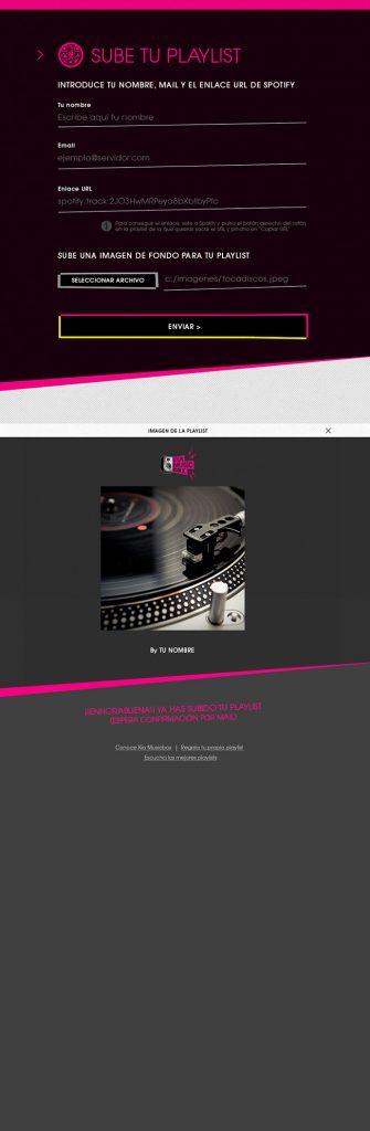 Diseño web Responsive Sube lista KIA MUSIC BOX 768