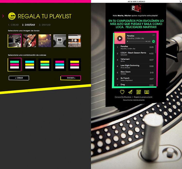 Diseño web Responsive Regala lista KIA MUSIC BOX 1280
