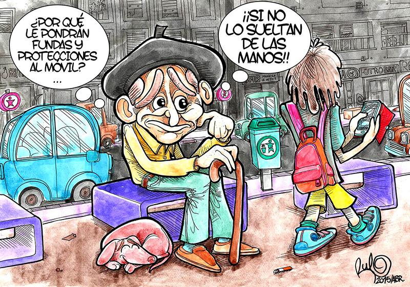 Ilustración Viñeta FUNDAS MOVILES