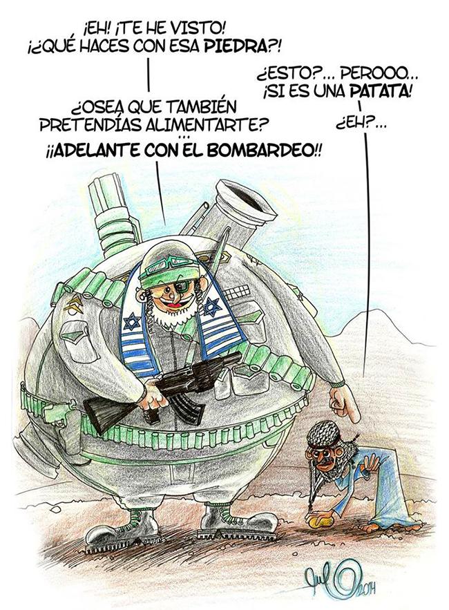 Ilustración viñeta BOMBARDEO ISRAELI