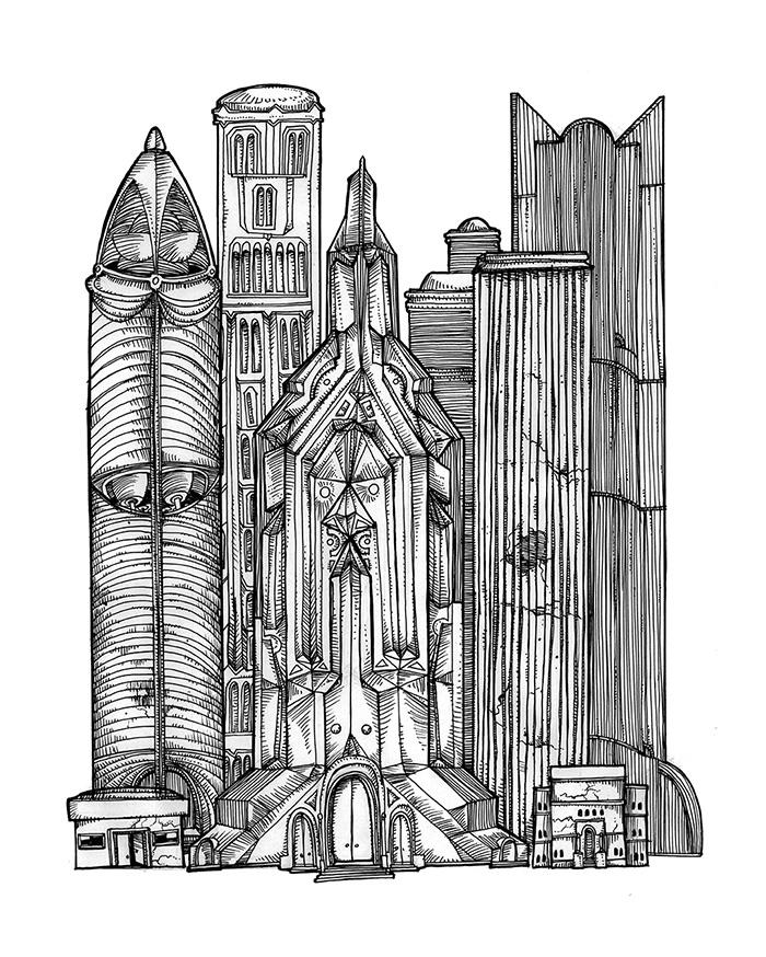 Ilustraciones EDIFICIOS EN RUINAS RASCACIELOS