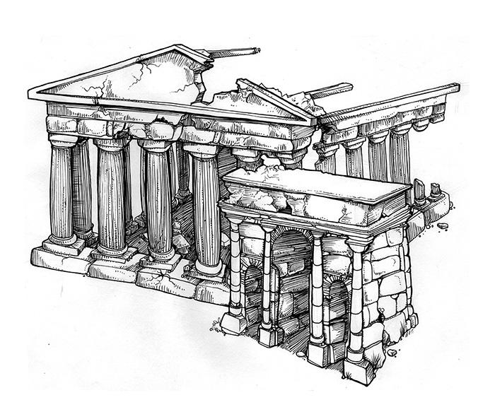Ilustraciones EDIFICIOS EN RUINAS RUINAS ROMANAS