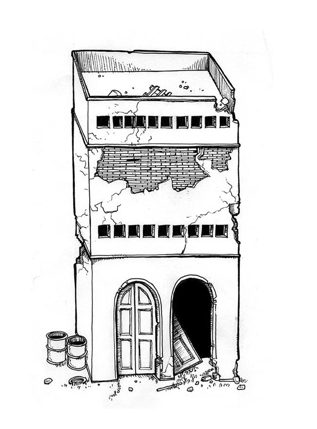 Ilustraciones EDIFICIOS EN RUINAS SALA DE MONTAJE