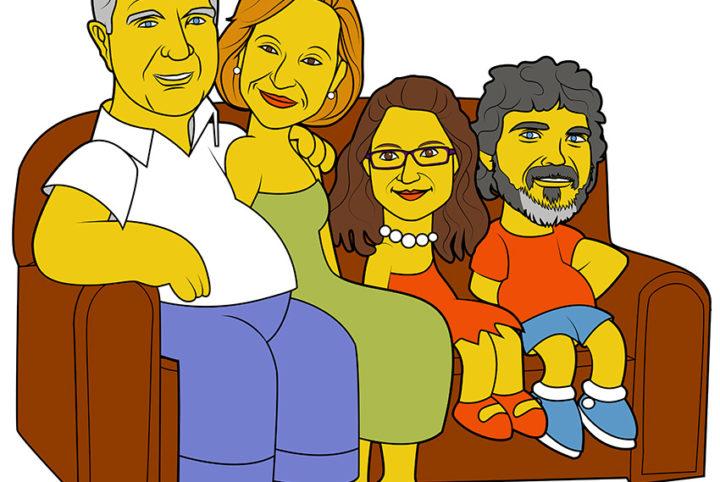 Ilustración Caricatura LOS PEREZ SANCHEZ A LO SIMPSONS