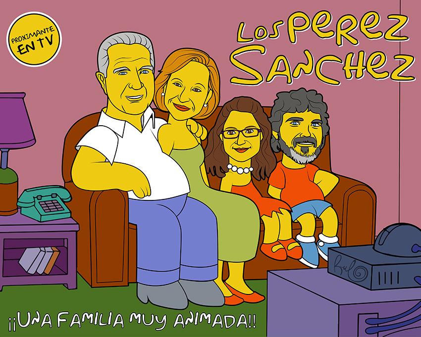 Ilustración Caricatura LOS PEREZ SANCHEZ UNA FAMILIA MUY ANIMADA