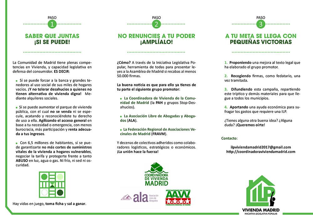 Diseño y maquetación ILP LEY URGENTE DEL DERECHO A LA VIVIENDA EN LA COMUNIDAD DE MADRID Triptico 2