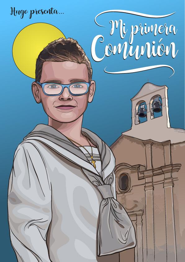Diseño ilustración recordatorio MI PRIMERA COMUNION HUGO