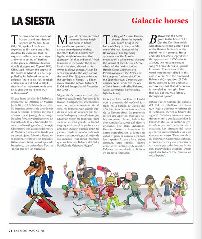 Maqueta final Ilustración CABALLOS FAMOSOS (Babylon Magazine nº 11)