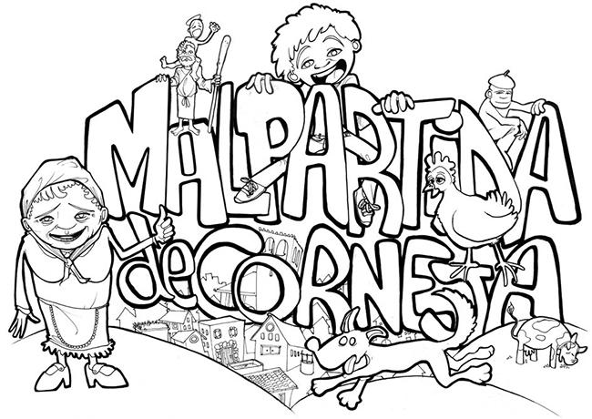"""Lineas Ilustración camisetas """"Fiestas Malpartida 2010"""""""