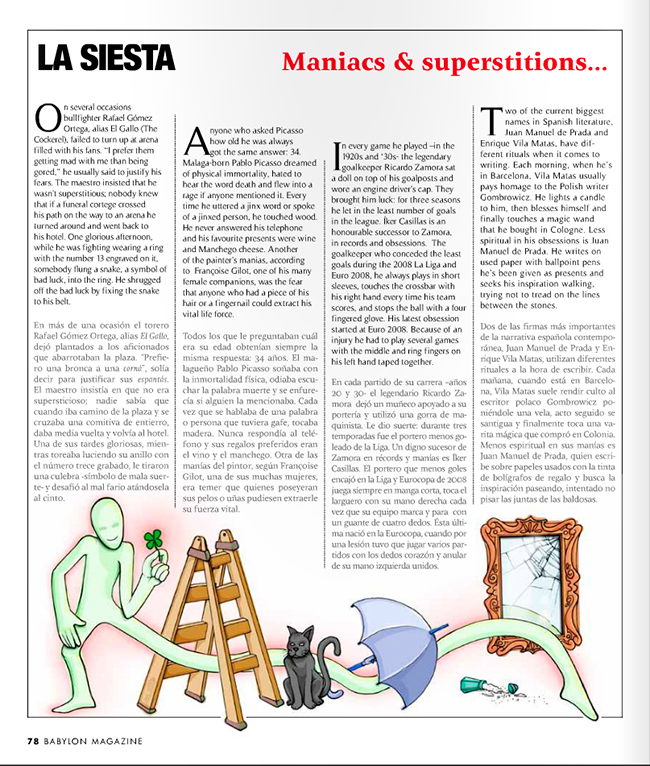 Maqueta final Ilustración MANIAS Y SUPERSTICIONES (Babylon Magazine nº 5)