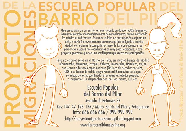 Diseño folleto PROYECTO MIGRACIONES Escuela de Adultos (Barrio del Pilar)