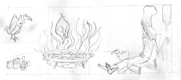 Boceto 1 Ilustración MUERTE EN ESPAÑA