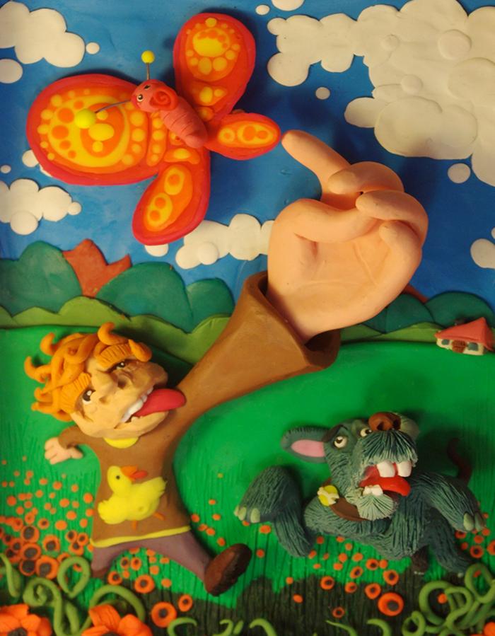 Ilustración en Plastilina PERSIGUIENDO MARIPOSAS 2