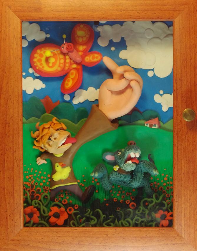 Ilustración en Plastilina PERSIGUIENDO MARIPOSAS 3