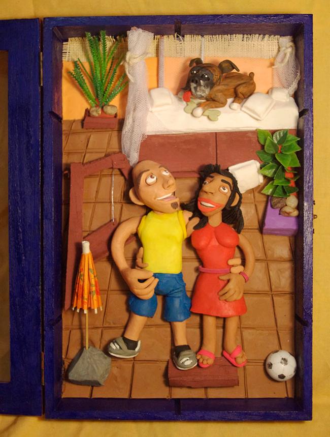 Retrato en plastilina VILLO, MARIMAR Y FITO 1
