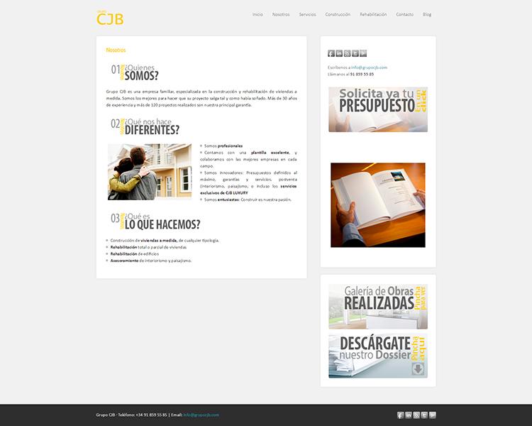 Diseño y creación de web Quienes somos GRUPO CJB