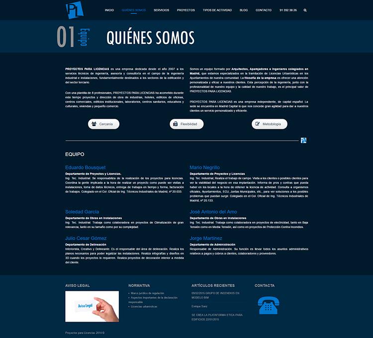 Diseño y creación de web Quienes somos PROYECTOS Y LICENCIAS
