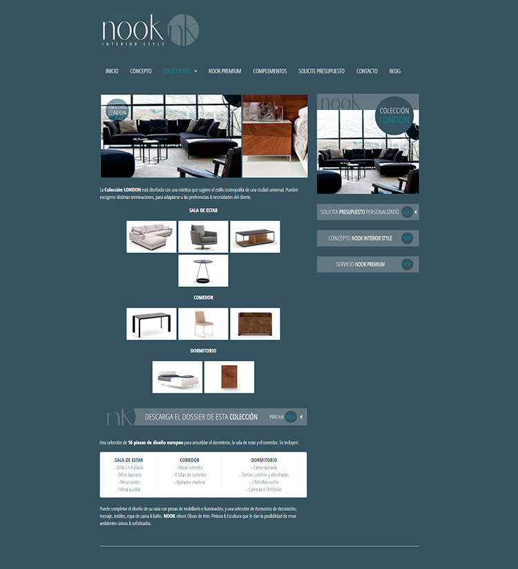 Diseño y creación de web Colecciones NOOK INTERIOR STYLE 2