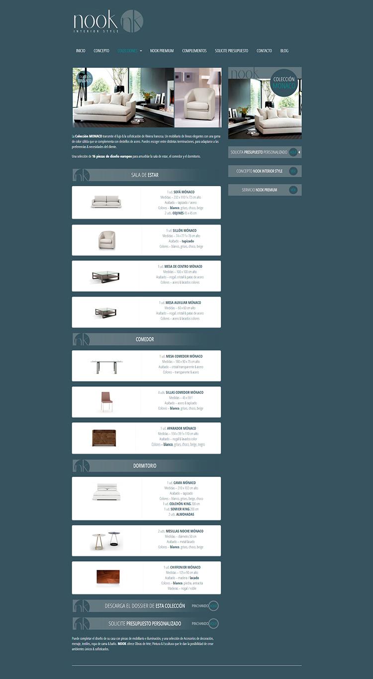 Diseño y creación de web Colecciones NOOK INTERIOR STYLE 4
