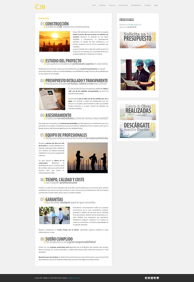 Diseño y creación de web Construcción GRUPO CJB