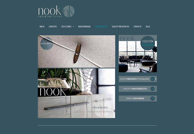 Diseño y creación de web Complementos NOOK INTERIOR STYLE