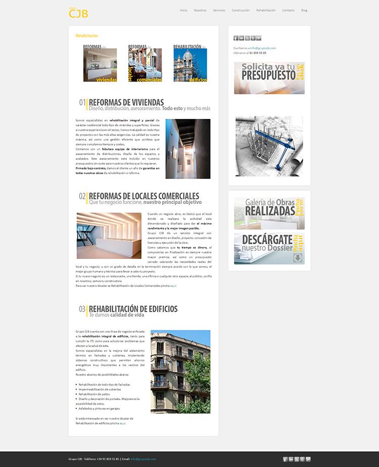 Diseño y creación de web Rehabilitación GRUPO CJB