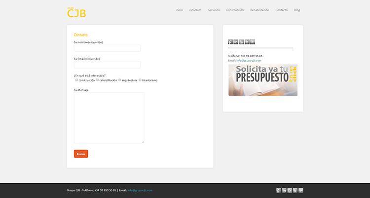 Diseño y creación de web Contacto GRUPO CJB