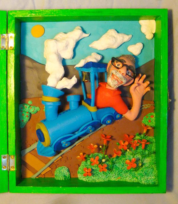 Retrato en plastilina CASIMIRO CONDUCIENDO EL TREN 1