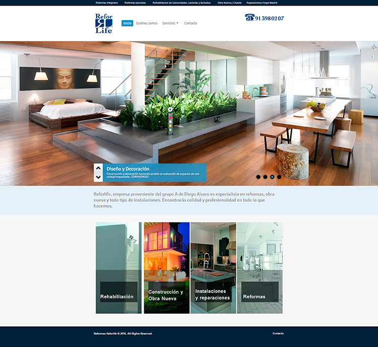 Diseño y creación de web Home REFORLIFE 1