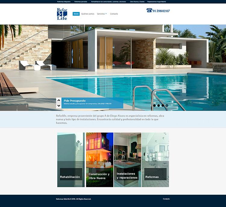 Diseño y creación de web Home REFORLIFE 2