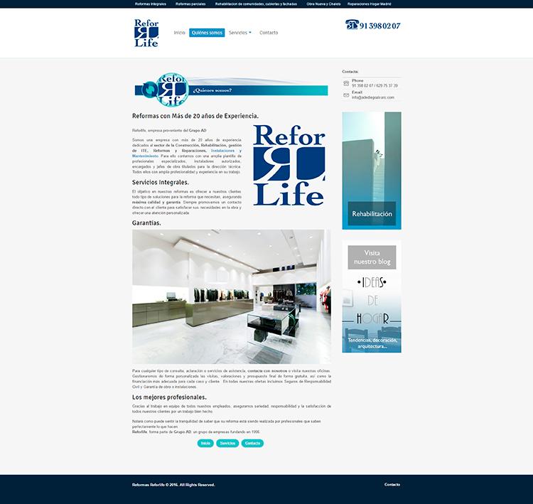 Diseño y creación de web Quienes REFORLIFE