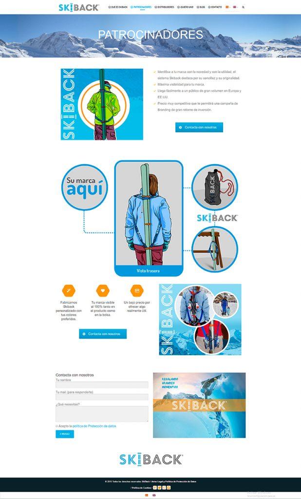 Diseño y creación de web Patrocinadores SKIBACK